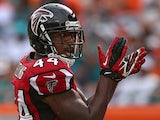 Atlanta Falcons' Jason Snelling reacts after scoring a touchdown against Miami Dolphins on September 22, 2013