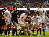 Joe Launchbury of England goes over to score a try underneath Captain Chris Robshaw of England during the QBE International match between England and New Zealand on November 16, 2013
