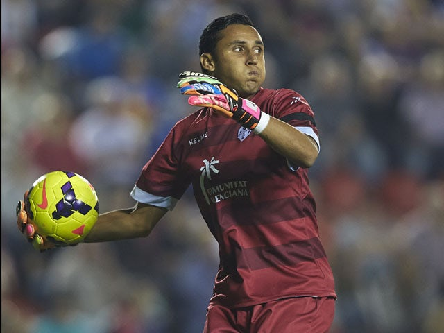 Keylor Navas of Levante in action during the La Liga match between Levante UD and RCD Espanyol at Estadio Ciutat de Valencia on October 26, 2013