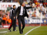 Granada's coach Lucas Alcaraz reacts during the Spanish league football match Valencia CF vs Granada at the Mestalla stadium in Valencia on May 26, 2013