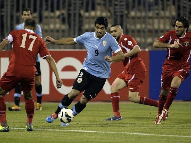 Result: Uruguay secure five-goal first-leg lead against Jordan