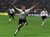 Michael Owen celebrates one of his three goals against Germany on September 08, 2001.