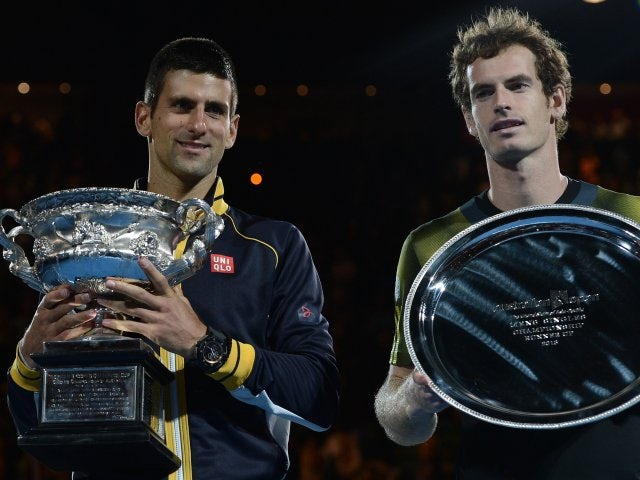 Novak Djokovic and Andy Murray pose with their Australian Open trophies on January 27, 2013.