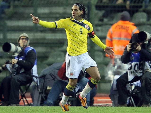 Colombia's Radamel Falcao celebrates after scoring the opening goal against Belgium during an international friendly match on November 14, 2013