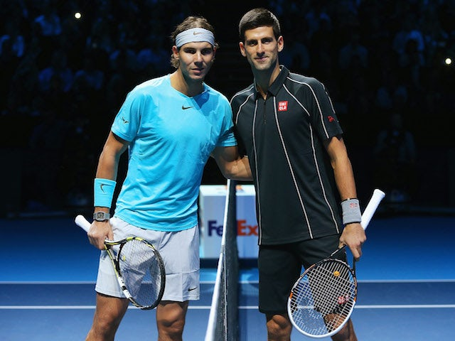 Rafael Nadal of Spain and Novak Djokovic of Serbia pose prior to their men's singles final match during day eight of the Barclays ATP World Tour Finals at O2 Arena on November 11, 2013