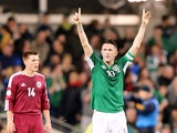 Robbie Keane of Ireland celebrates scoring a goal during the International Friendly match between Republic of Ireland and Latvia at Aviva Stadium on November 15, 2013