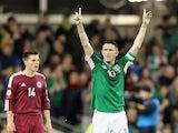 Robbie Keane of Ireland celebrates scoring a goal during the International Friendly match between Republic of Ireland and Latvia at Aviva Stadium on November 15, 2013
