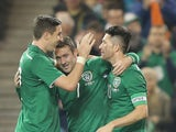 Aiden McGeady of Ireland celebrates scoring a goal during the International Friendly match between Republic of Ireland and Latvia at Aviva Stadium on November 15, 2013