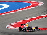Sebastian Vettel zips around the Circuit of the Americas in Texas during qualifying for the United States Grand Prix on November 16, 2013