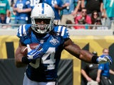 Trent Richardson of the Indianapolis Colts runs for yardage during the game against the Jacksonville Jaguars at EverBank Field on September 29, 2013