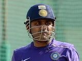 Virender Sehwag attends a training session at The Sardar Patel Stadium at Motera in Ahmedabad on November 13, 2012
