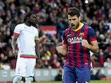 Barcelona's midfielder Cesc Fabregas celebrates after scoring during the Spanish league football match FC Barcelona vs Granada CF at the Camp Nou stadium in Barcelona on November 23, 2013