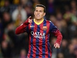 Barcelona's forward Pedro Rodriguez celebrates after scoring during the Spanish league football match FC Barcelona vs CF Granada at the Camp Nou stadium in Barcelona on November 23, 2013