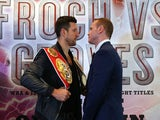 Carl Froch and George Groves go head to head to promote their upcoming fight during a press conference at the Radisson Blu Edwardian Hotel on September 17, 2013