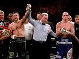 Carl Froch celebrates victory over George Groves after their IBF & WBA World Super Middleweight Title fight on November 23, 2013
