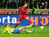 Portugal's Cristiano Ronaldo scores his team's second goal against Sweden during their World Cup play-off match on November 19, 2013