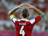 Daniel Agger reacts to Denmark missing a chance during Euro 2012 on June 17, 2012.