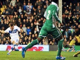 Italy's midfielder Emanuele Giaccherini scores his team's second goal during the International friendly football match between Italy and Nigeria at Craven Cottage in London on November 18, 2013