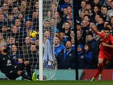 Liverpool's Brazilian midfielder Philippe Coutinho celebrates scoring a goal past Everton's US goalkeeper Tim Howard during the English Premier League football match between Everton and Liverpool at Goodison park in Liverpool on November 23, 2013
