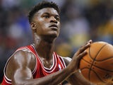 Jimmy Butler #21 of the Chicago Bulls seen during action against the Indiana Pacers on October 5, 2013