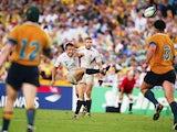 England's Jonny Wilkinson kicks the winning drop goal against Australia during the final of the World Cup on November 22, 2003