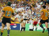 England's Jonny Wilkinson kicks the winning drop goal against Australia during the final of the World Cup on November 22, 2003