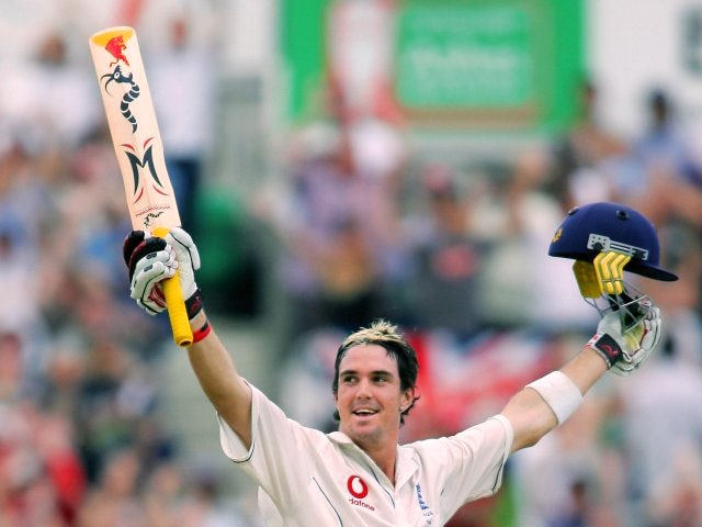 Kevin Pietersen celebrates his century against Australia at The Oval on September 12, 2005.