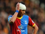 Marouane Chamakh of Crystal Palace holds his bandaged head during the Barclays Premier League match between Hull City and Crystal Palace at KC Stadium on November 23, 2013