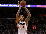 Michael Beasley of the Miami Heat shoots during a game against the Milwaukee Bucks at AmericanAirlines Arena on November 12, 2013