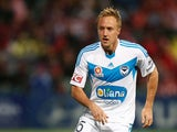 Mitch Nichols of the Victory controls the ball during the round six A-League match between the Western Sydney Wanderers and the Melbourne Victory at Parramatta Stadium on November 16, 2013