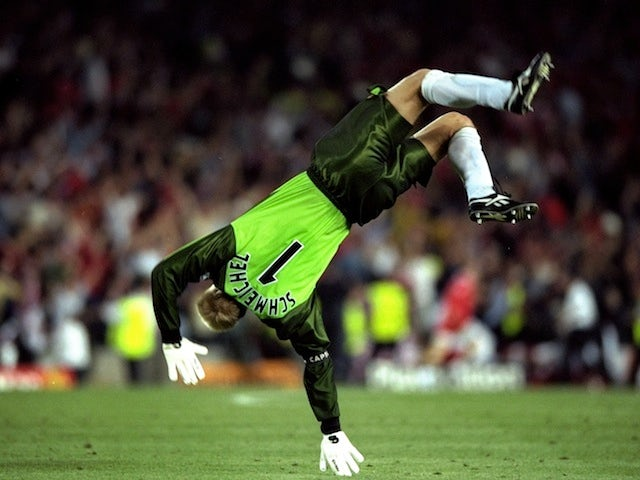 Manchester United goalkeeper Peter Schmeichel celebrates their winning goal in the Champions League final on May 26, 1999