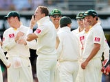Australia's Peter Siddle celebrates his hat-trick against England in Brisbane on November 25, 2010.