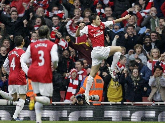 Arsenal's Samir Nasri celebrates his goal against Tottenham Hotspur on November 20, 2010.
