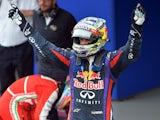 German Formula One driver Sebastian Vettel celebrates his victory in the Brazil F-1 GP on November 24, 2013