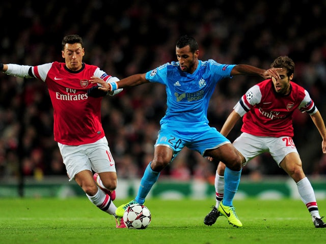 Alaixys Romao of Marseille during the UEFA Champions League Group F match between Arsenal and Olympique de Marseille at Emirates Stadium on November 26, 2013