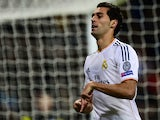 Real Madrid's Alvaro Arbeloa celebrates after scoring his team's second goal against Galatasaray during their Champions League group match on November 27, 2013