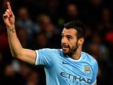 Man City's  Alvaro Negredo celebrates after scoring his team's third goal against Viktoria Plzen during their Champions League group match on November 27, 2013