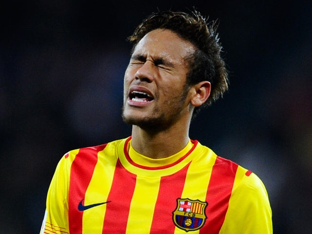 Neymar of FC Barcelona reacts during the La Liga match between Athletic Club and FC Barcelona at San Mames Stadium on December 1, 2013