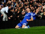 Gary Cahill of Chelsea celebrates as he scores their first goal during the Barclays Premier League match between Chelsea and Southampton at Stamford Bridge on December 1, 2013