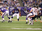 Cordarrelle Patterson #84 of the Minnesota Vikings advances the ball against Chicago Bears on December 1, 2013