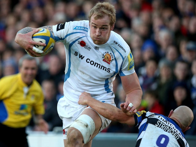 Exeter Chief's Damien Welch runs towards the try line during the Aviva Premiership Bath V Exeter at Recreation Ground on November 30, 2013