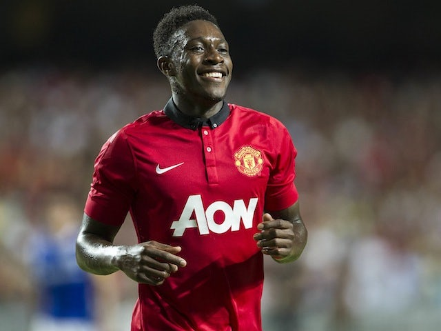Danny Welbeck of Manchester United celebrates after scoring during the internationaly friendly match in Hong Kong on July 29, 2013