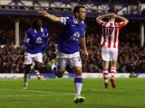 Seamus Coleman of Everton celebrates the second goal during the Barclays Premier League match between Everton and Stoke City at Goodison Park on November 30, 2013