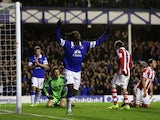 Romelu Lukaku of Everton celebrates his goal during the Barclays Premier League match between Everton and Stoke City at Goodison Park on November 30, 2013