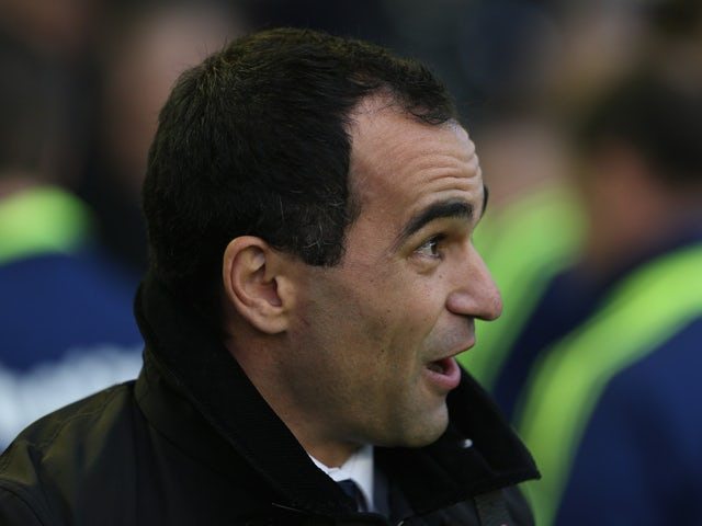 Everton manager Roberto Martinez during the Barclays Premier League match between Everton and Stoke City at Goodison Park on November 30, 2013