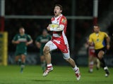 Jonny May of Gloucester breaks clear to score their second try during the Aviva Premiership match between Gloucester and Leicester Tigers at Kingsholm Stadium on November 29, 2013