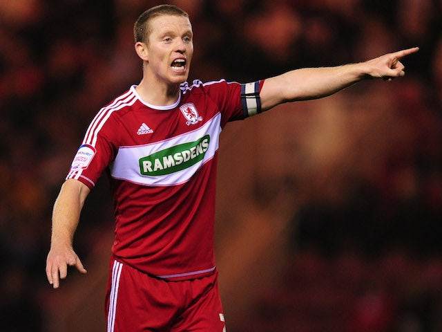 Boro player Grant Leadbitter in action during the npower Championship match between Middlesbrough and Hull City at Riverside Stadium on October 23, 2012