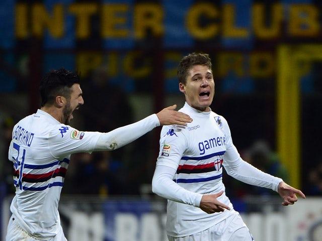 Sampdoria's midfielder Garcia Renan of Brazil celebrates after scoring during the Italian Seria A football match Inter Milan vs Sampdoria, on December 1st, 2013