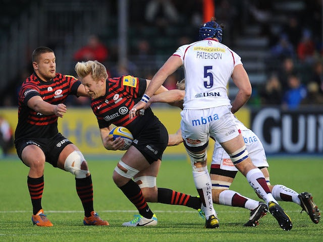 Jackson Wray of Saracens in action during the Aviva Premiership match between Saracens and Sale Sharks at Allianz Park on November 30, 2013