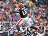 Wide receiver Josh Gordon #12 of the Cleveland Browns catches a pass during the first half against the Jacksonville Jaguars at FirstEnergy Stadium on December 1, 2013